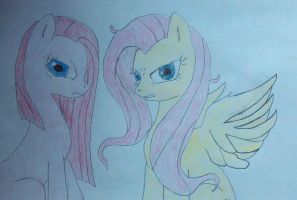 Fluttershy and straight hair pinkie by konadh324