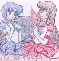 Sailor Mercury and Sailor Mars by muffinmonkey72