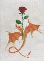Rose and Dragon Cross Stitch by Hami2000
