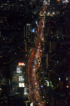 Aerial speed way from Roppongi hills, Japan Tokyo by orphoe