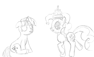 Pinkie Helps Twilight Cheer Up - Unfinished by FeralDrive
