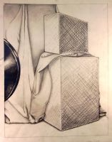 Boxes and  Drapery Drawing by Vinnie14