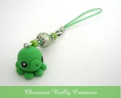 Green Octopus Phone Charm by magur