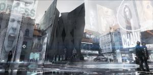 Deus Ex Mankind Divided - Prague modern District by MatLatArt