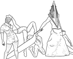 Silent Hill Lineart by lizluvsanime2