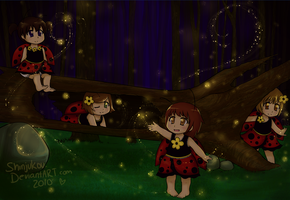 Ladybugs and Fireflies by Shinjukou