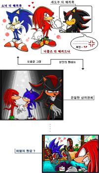 Knuckles X Sonic, Shadow by lovelyvar