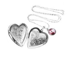 Big Silver Floral Heart Picture Locket Necklace by crystaland