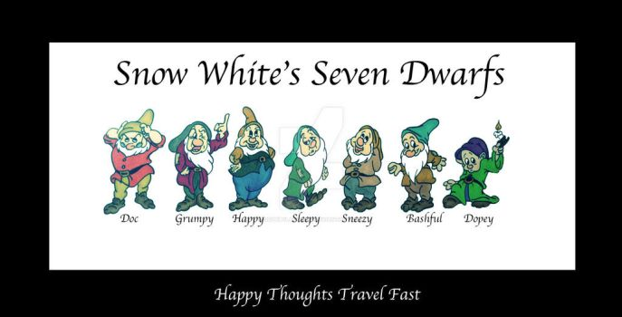 Snow White's Seven Dwarfs by SophlyLaughing