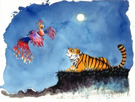 Bird of the night and tiger by Spoonygee