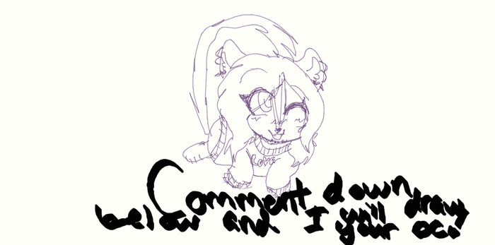 Comment down below and I will draw your OC! :3 by shimmerandsparkle