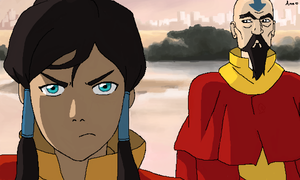 Korra and Tenzin by xAmeChanx