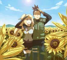 Commission - Himawari and Shikamaru by moremindmel0dy