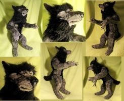 The Howling Wolf Anthro realistic soft sculpture by Jarahamee