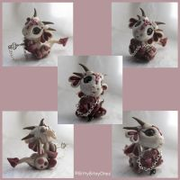 Pearl And Pink baby Dragon with Heart Lock And Key by BittyBiteyOnes