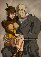 Arcanum: Elf and half-ogre by Tesan-Andrey