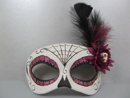 Day of the Dead Purple flower masquerade mask by maskedzone