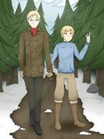 [APH] SuFin - Walk in the snow by Anni-the-cat