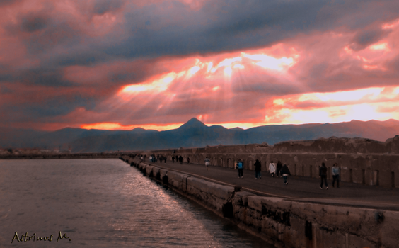 the sunset in Crete by Astrinos