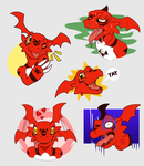 Guilmon expressions by ChicoStyx