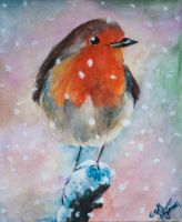 Robin in the Snow by esther-rose-mouse