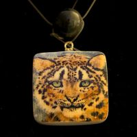 Snow Leopard Pendant Necklace by SingapuraStudio