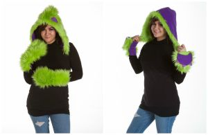 Reversible monster hat and mittens by kawaiibuddies