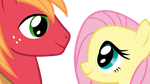 Fluttershy and Big Macintosh vector by keeveew