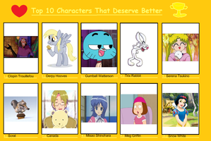 My Top 10 Characters That Deserve Better by ClopinGirl64