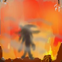 A figure in the flames by Lynus-the-Porcupine
