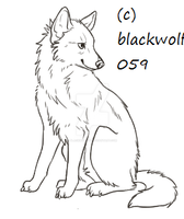 free Wolf lineart~ Sitting by blackwolf059