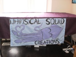 Tablecloth and finished sign by WhimsicalSquidCo