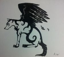 winged wolf by Carlitos-Girl