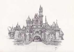 Disneyland: Sleeping Beauty Castle Drawing by TomBromley