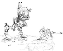 WH40k Sentinel and HS Gunner by Lordmarshal