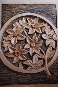 Wood Carving of Flowers by CarpenterAnt