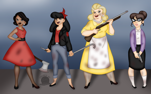 1950s Zombie Hunter Ladies by Blackmoonrose13