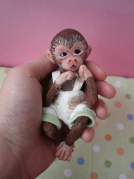 Ooak Baby Monkey Sculpture by WendysArtwork