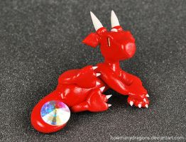 Lounging Red Rhinestone Dragon by HowManyDragons