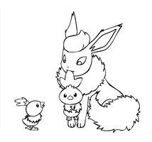 Flareon babysits Torchics by sunnyfish