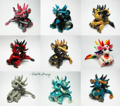 Group of Little Dragons by SweetMayDreams
