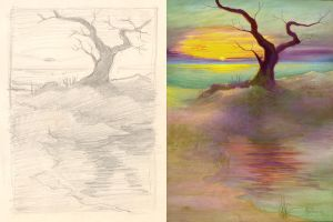 Lone Beach Tree Sketch by Valnor