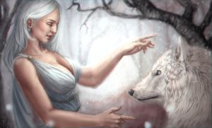 The wolf and the moon by Cahlline