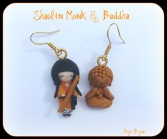 Shaolin Monk,Buddha Earrings by Bojo-Bijoux