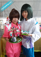 Haku and Chihiro with my Clay Figures by yonkairu