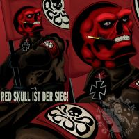 Red Skull is Victory! WWII-era Propaganda Poster by MarkItZeroNET