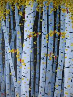 Ten Cardinals in Birch Trees by paintintheneck
