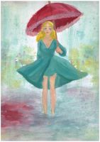 Red umbrella by MarshyCute