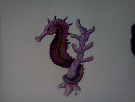 seahorse on coral tattoo by Samaelt666