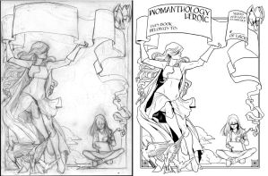 Womanthology Bookplate Ink Comparison by neilak20